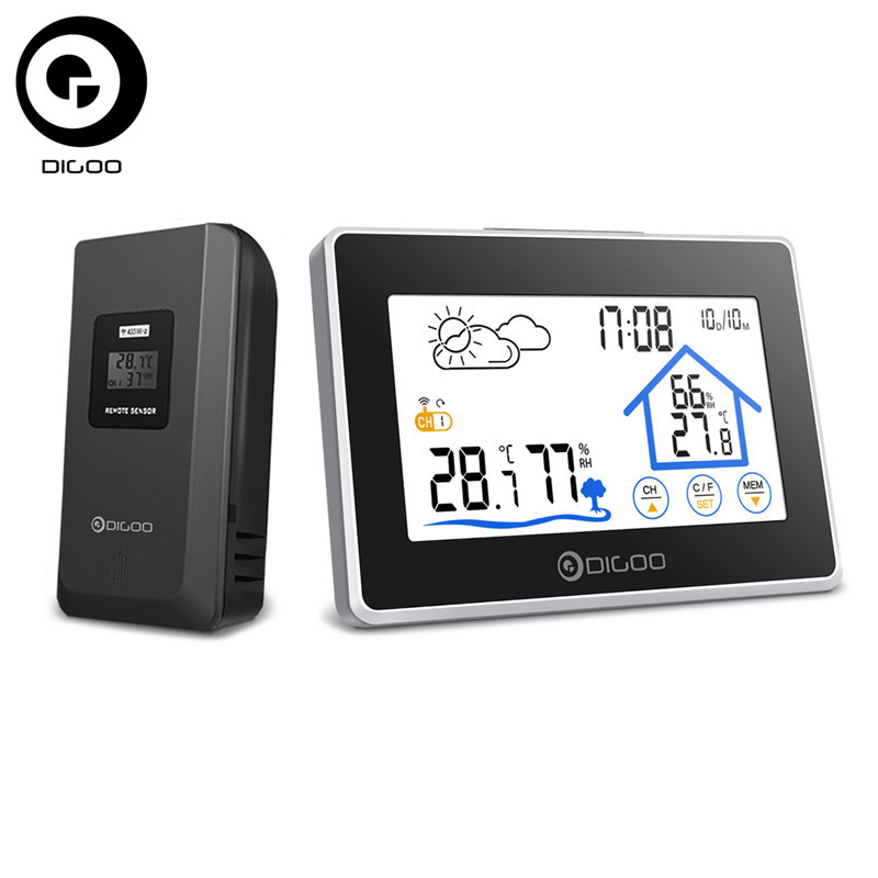 Digoo DG-TH8380 Wireless Thermometer Hygrometer Touch Screen Weather Station Thermometer Outdoor Forecast Sensor Clock цена