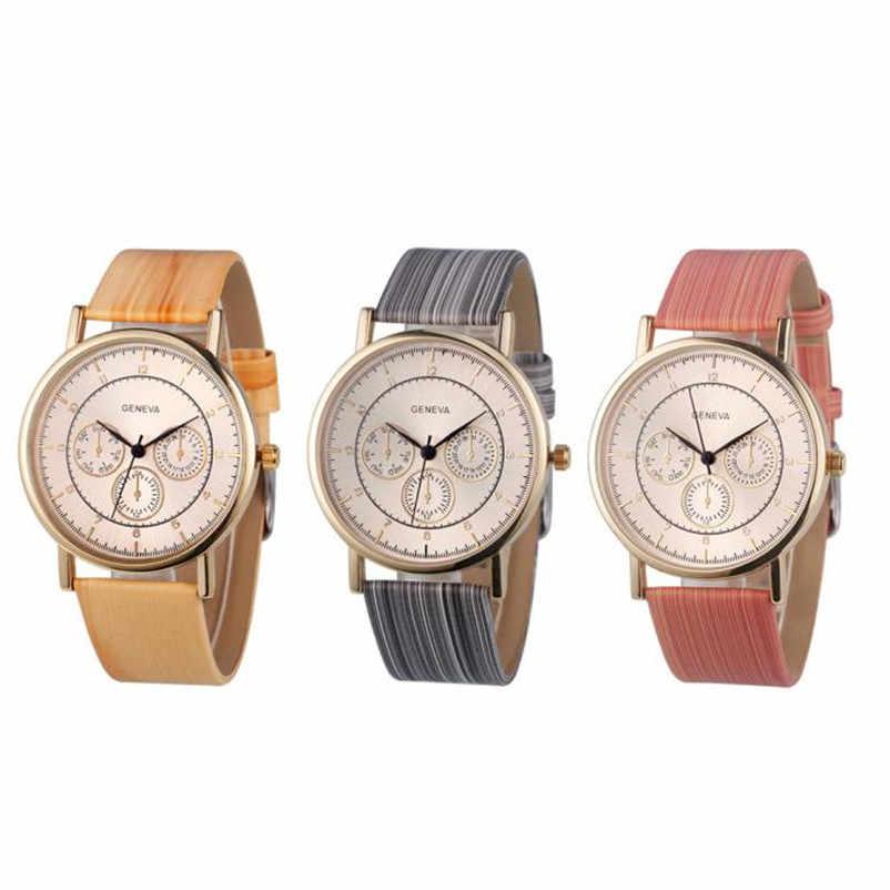 Reloj de pulsera de cuarzo analógico de cuero de madera para mujer, reloj informal Bayan Kol Saati reloj femenino
