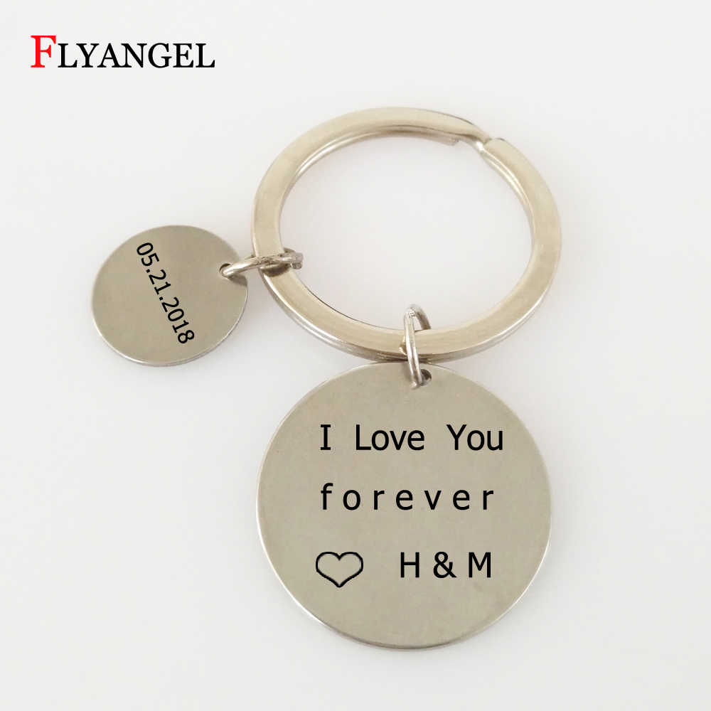 e99b6ee7f9 Personalized Anniversary Valentine's Day Gift Key Chain Customized  Name&Date Keychains Couples Keyring for Girlfriend Boyfriend