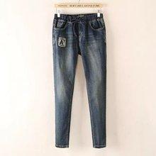 Женщины моды весна осень большой размер Харен тонкие брюки джинсовые эластичный пояс стрейч джинсы женщина