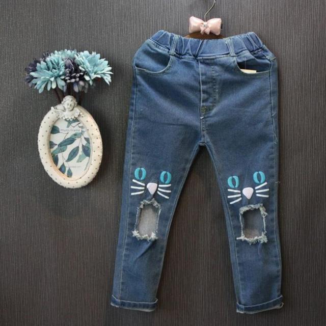 Retail Niñas Otoño de Dibujos Animados de Moda Agujero Deinm Pantalones Niños Pantalones Niños Pantalones Vaqueros Pantalones Vaqueros de Las Muchachas 1203