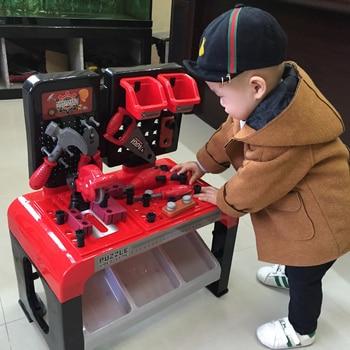 Enfants Outil Jouets Ensemble Grande Réparation Outil Table En Plastique Semblant Jouer Enfant Outil Kit Puzzle Jouets Pour Enfants Garçons 3 Ans Cadeau