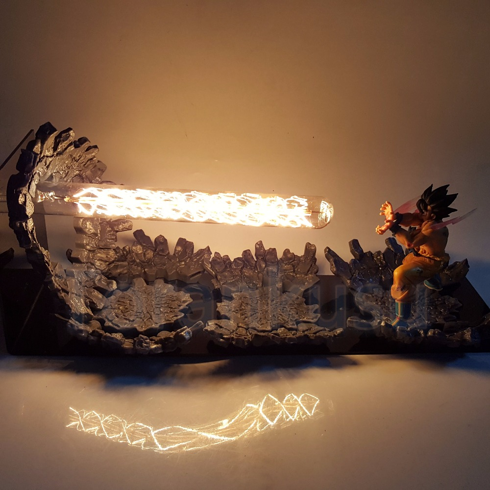 Dragon Ball Z Action Figure Son Gokou Triple Kaiouken DIY LED Light Anime Dragon Ball Super Goku Kamehameha Attack Model DIY186