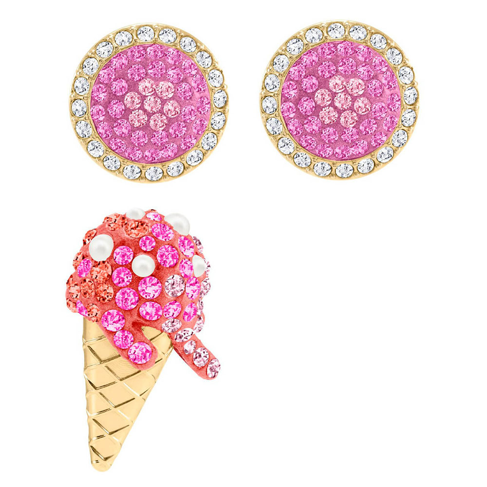 SWA RO Fashion Charm 2019 New NO REGRETS ICE CREAM Pierced Earrings Female Shiny Ice Cream Crystal Send Girlfriend Romantic GiftSWA RO Fashion Charm 2019 New NO REGRETS ICE CREAM Pierced Earrings Female Shiny Ice Cream Crystal Send Girlfriend Romantic Gift