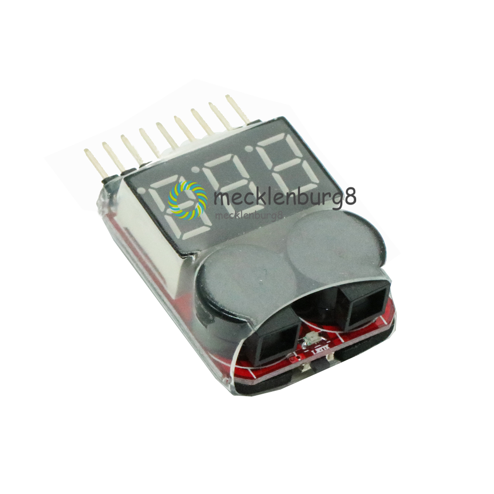 S For 1-8 S Lipo / Li-ion / Fe Battery Voltage 2IN1 Indicator Tester Low Voltage Alarm Buzzer For RC Cars LED Boat B 3.7-30 In N
