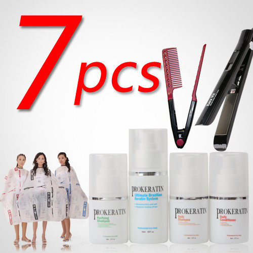 Todo tratamiento de queratina brasileña Conjunto paño + plancha 7 unids horquilla + Salon DIY conjunto de productos