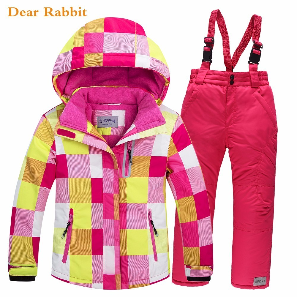 30 degrees 2019 Children Ski Suit Set Thick Waterproof Teenage Girl Boy Cold proof Outdoor