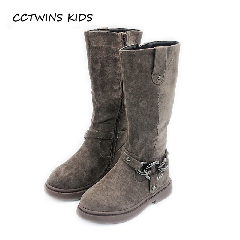 CCTWINS KIDS 2018 Autumn Winter Baby Leather Suede Boot Children Fashion Knee High Boot Girl Brand Black Boot H030