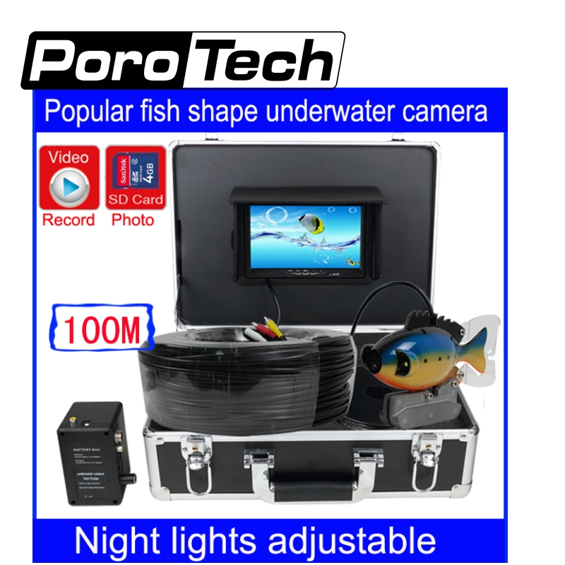 SY801 100m Depth Cable Professional Underwater Fish Finder system 7 LCD DVR Function fish shape underwater