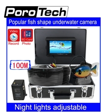 SY801 100m Depth Cable Professional Underwater Fish Finder system 7″ LCD DVR Function fish shape underwater fishing camera