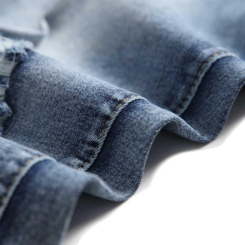HMILY męska krótkie dżinsy proste Retro szorty Jean duży rozmiar męskie bawełniane letnie spodenki jeansowe Plus rozmiar 28- 42