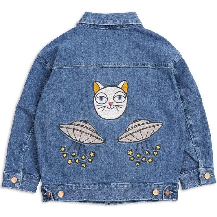 2018 INS HOT enfants UFO motif dessin animé JEANS manteau garçons vêtements filles vêtements VESTIDO marque enfants vestes manteau automne hiver