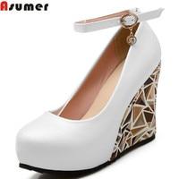 Large Size 2016 New High Heels Wedges Summer Women Pumps Casual Dress Wedding Shoes Elegant Rhinestone