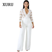 XURU 2019 spring new womens jumpsuit fashion solid color casual long sleeve hollow