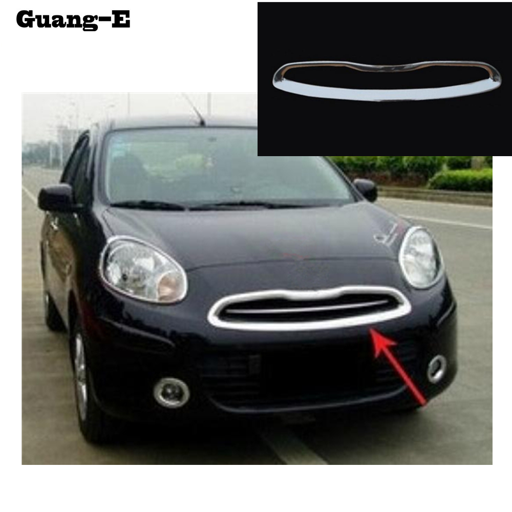 For Nissan March 2011 2012-2017 car body ABS chrome License plate trim racing Grid Grill Grille hoods panel frame moulding 1pcs car panel body cover protection trim front up grid grill grill racing 1pcs for nissan march 2011 2012 2013 2014 2015 2016 2017