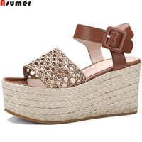ASUMER Brown White Sliver Fashion Summer Shoes Platform Wedges Shoes Buckle Ladies Shoes Genuine Leather Hand