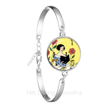 Mothers Day Bracelet Gustav Klimt The Kiss Art Jewelry Silver Plated Chain Bangle For Women Men Wonderful Gift image