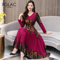 FGLAC Women's Autumn winter Fashion Floral print party dress Elegant Slim v neck Long sleeve dress Vintage vestidos