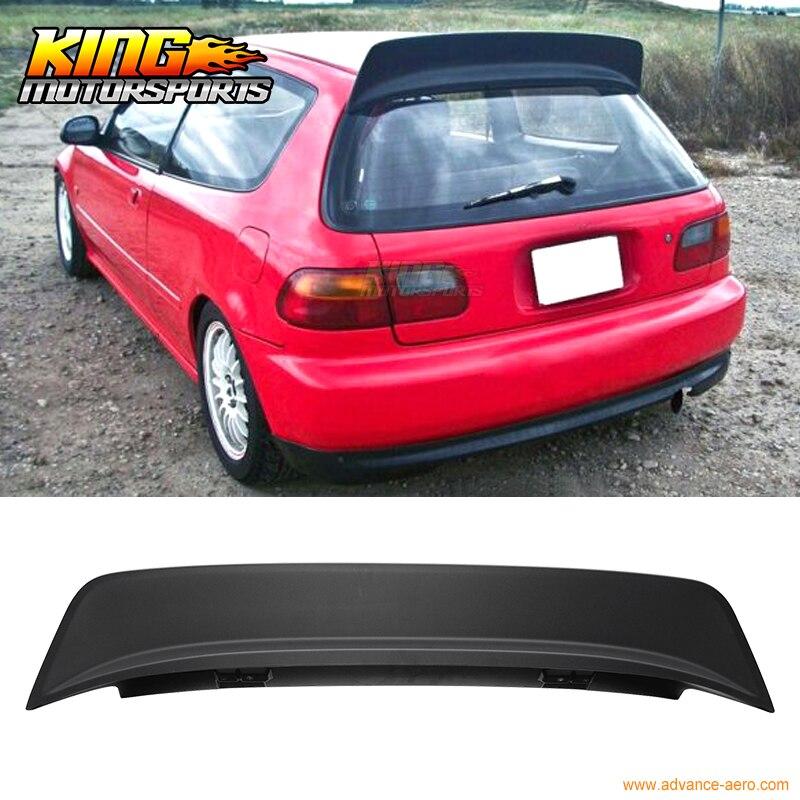 For 92-95 Honda Civic 3D Hatchback BYS Style Rear Roof Spoiler Wing Matte Black