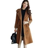 HanOrange 2017 Coreano Vintage Inverno Nuova Pelle Scamosciata Addensato Agnello Lana Cashmere Cappotto X-Lungo Cappotto Grigio/Beige/cammello Plus Size 3XL