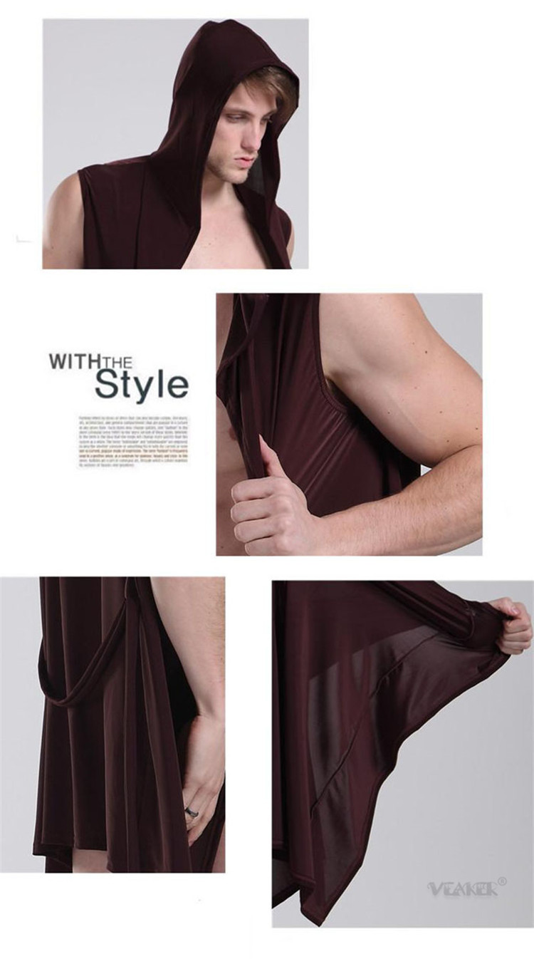 Sexy Summer Ice Silk Gown Men's Bathrobe Men Hooded Robes Homme Solid Bath Robe Club Man Gown Roupao Gay Ice Silk Hooded Pajamas