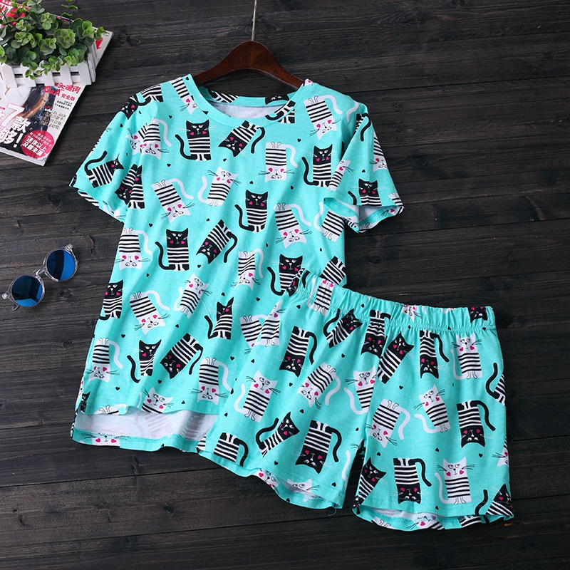 Summer Female Casual Cartoon Pajama Sets Women Short Sleeve Round Collar T Shirt + Shorts Ladies  Cotton Sleepwear Suit