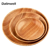 Natural Rubber Wood Round Snack Breakfast Tea Coffee Serving Tray Wooden Bread Dry Fruit Plate Dishes
