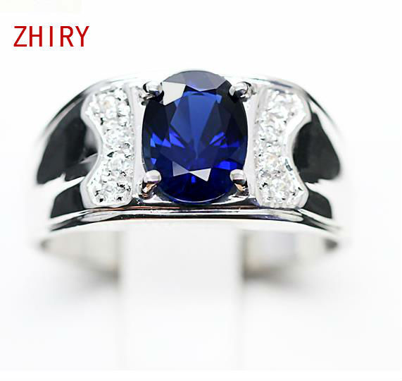 Men Ring 18K White Gold Real Sapphire Natural deep blue gemstone 1.45 carat Man Rings