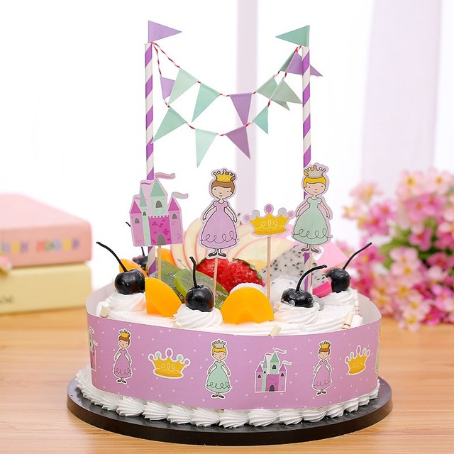 Free Shipping Princess Birthday Cake Topper Party Decorations Kids Supplies Baby Shower Girl