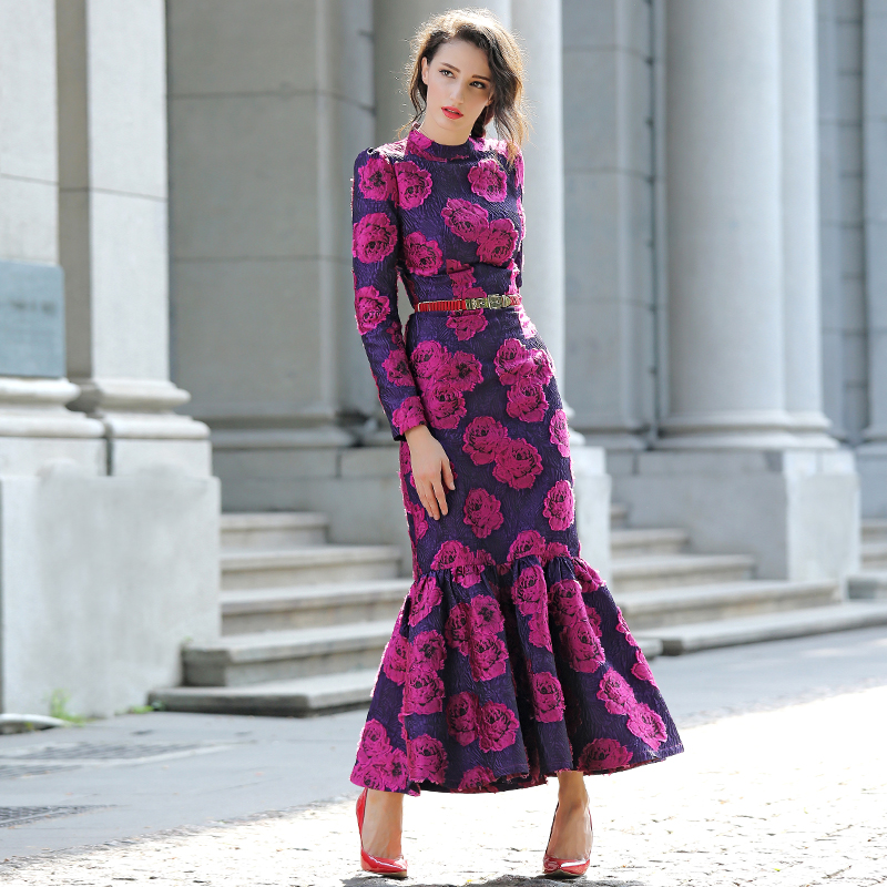Vintage Flowers Slim long maxi Mermaid Dress Plus Size Women Clothing Stand Collar Long Sleeve Party