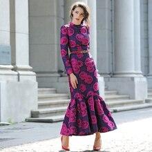 女性長袖マーメイドドレスロングマキシヴィンテージの花スリムプラスサイズ女性の衣服スタンドカラーパーティードレスローブフェムセクシー