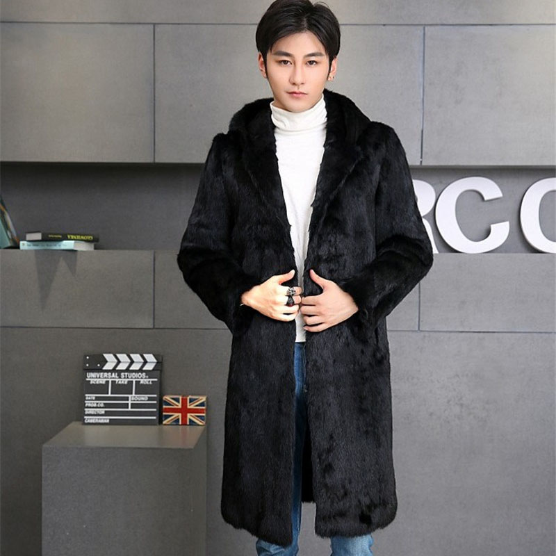 Whole skin natural rabbit fur jackets men hooded full sleeve long style real leather fur coats fur overcoats 2018 autumn winter