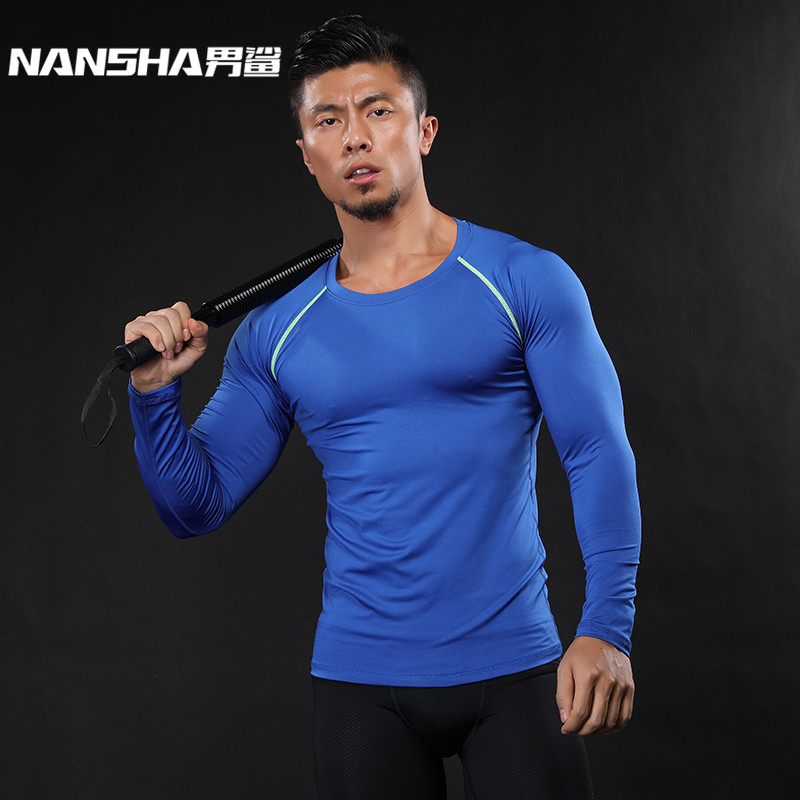 NANSHA Muscle Men Compression Shirts T-shirt Long Sleeves Thermal Under Top MMA Rashguard Fitness Base Layer Weight Lifting(China)