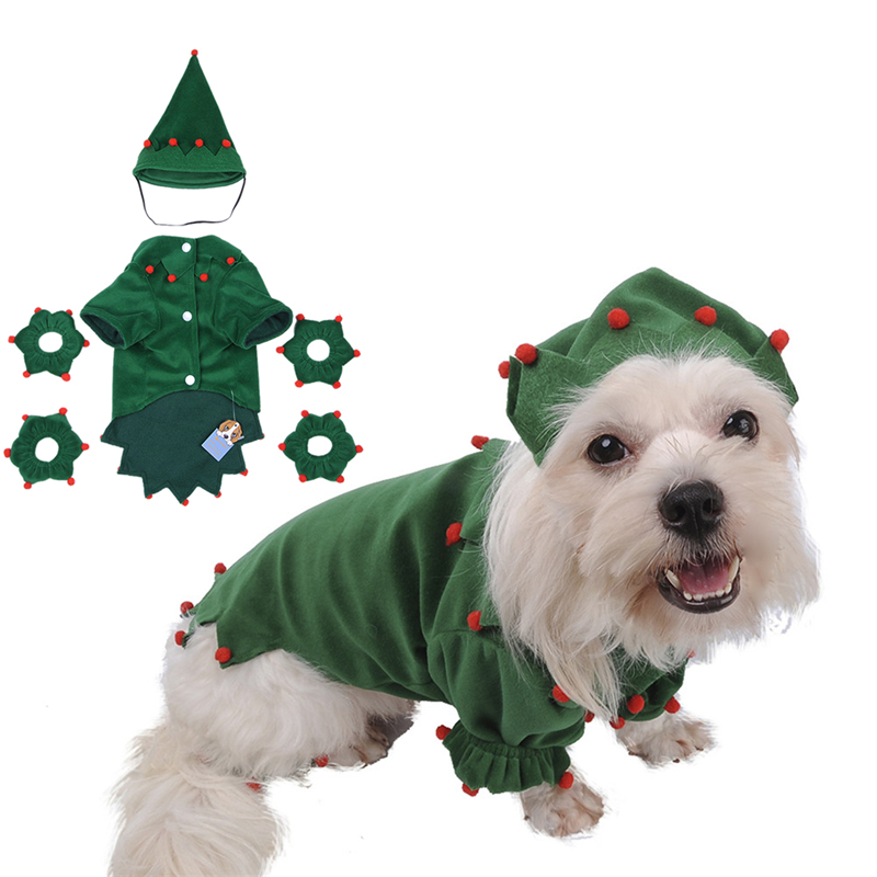 New Funny Pet Dog Christmas Coat Clothes with Christmas Hat Dog Elves Puppy Acrylic Costume Size S M L XL 1 set 2016