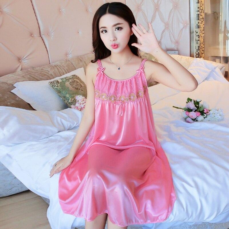 Bejirog 2018 Lace Nighties Lingerie Homedress Sexy Sleep Clothing Women   Nightgowns   Silk   Sleepshirts   Sleeveless Sleepwear Summer