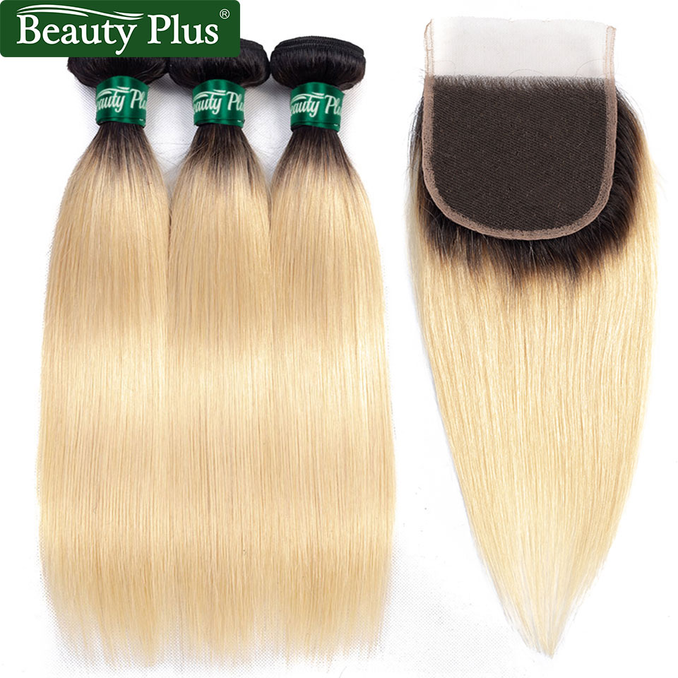 1B 613 Blonde Hair Bundles With Closure Beauty Plus Remy Human Hair Dark Roots Brazilian Straight Hair Weaves And Lace Closures in 3 4 Bundles with Closure from Hair Extensions Wigs