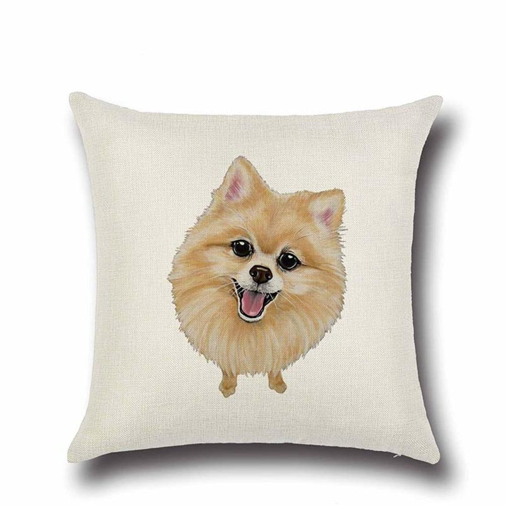 Pug Dog Bulldog Yorkshire Terrier Cotton Linen Throw Pillow Cushion Cover Car Home Sofa Bed Decorative Pillowcase funda cojin