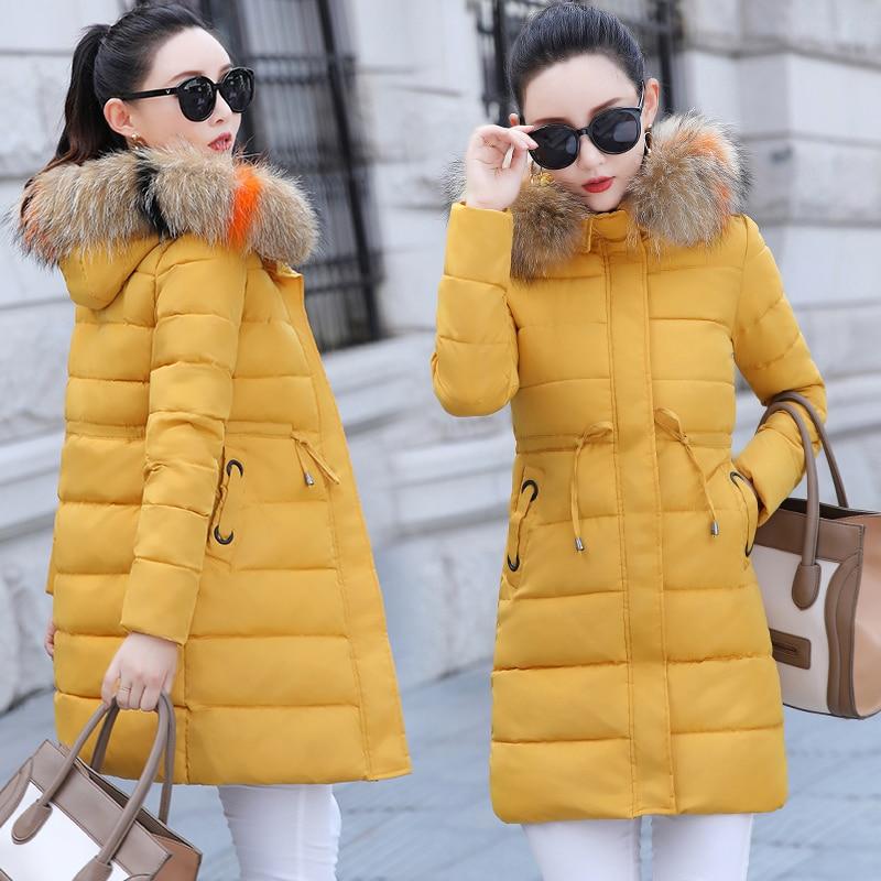 Winter Big Fur Long   Down     Coat   Jacket Plaid Thick Warm Women Casaco Feminino Abrigos Mujer Invierno Cotton Padded Wadded Parkas