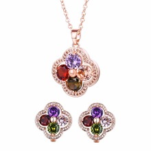 FYM Fashion Rose Gold Color Flower Shape Jewelry Sets Colorful Crystal Necklace Earrings Multicolor Jewelry Set for Women Party new multicolor flower cz wedding jewelry set for women rose gold color link chain slide pendant earrings necklace jewelry sets