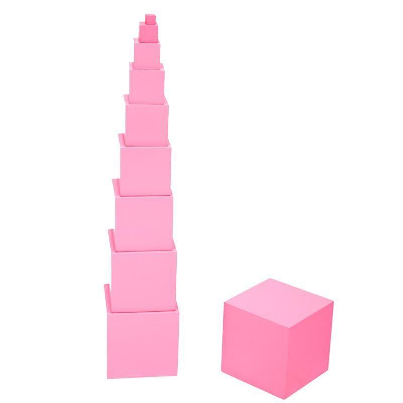 Montessori sensoriels d'enseignement tour rose blocs de construction maternelle manuels pour enfants éducation précoce puzzle jouets