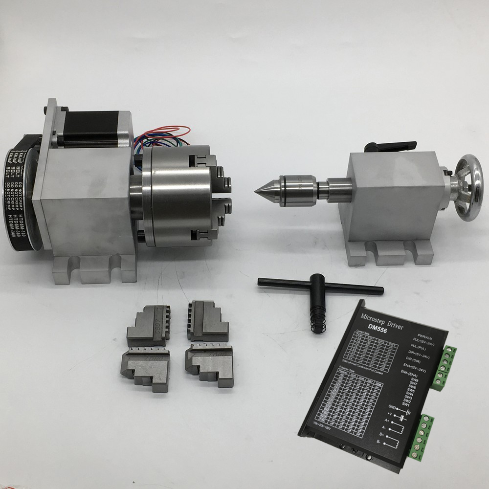4 Axis rotation A Axis Rotary Driver 4 Jaw 80mm K12 80 Chuck and Nema23 stepper motor Tailstock kit for wood CNC Milling Router