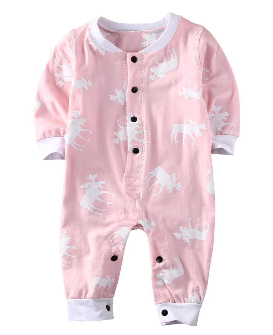 Autumn Adorable Pink Baby Girls Reindeer Long Sleeve Romper Jumpsuit Outfits Xmas Clothes 0-18M