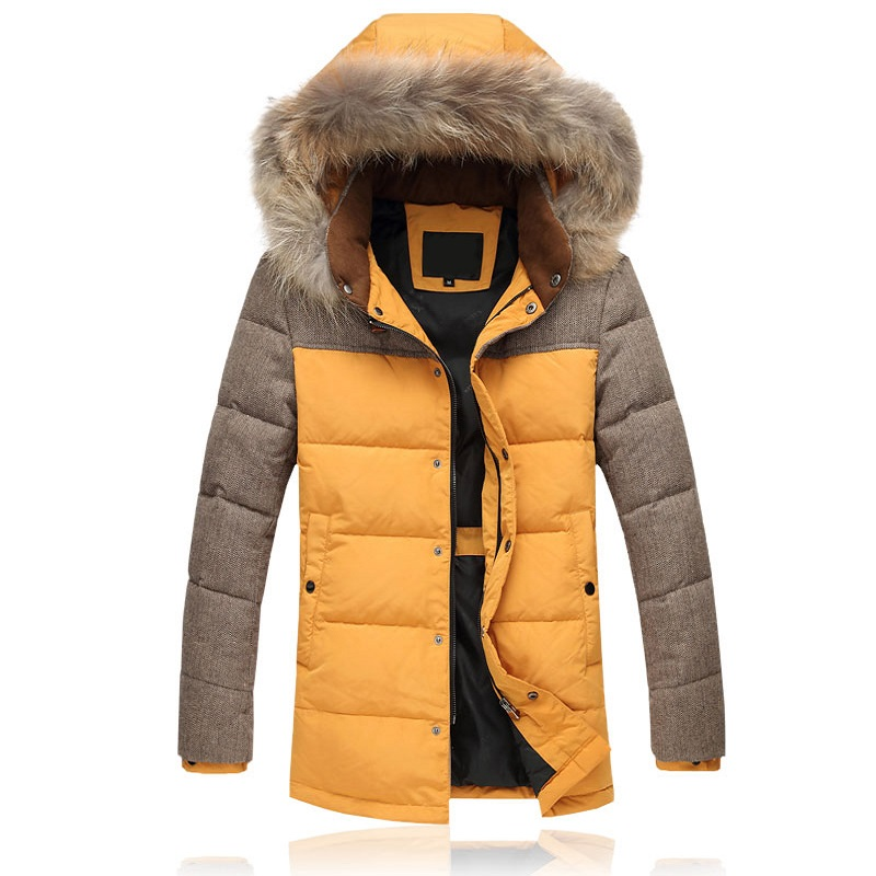 Winter Jacket Mens Parkas Thick Warm Fur Collar Medium Long Fashion Casual Windproof Hooded Jacket and Coats