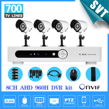 8 channel full AHD 720P DVR security system 4pcs 700tvl outdoor waterproof video camera HDMI Surveillance System