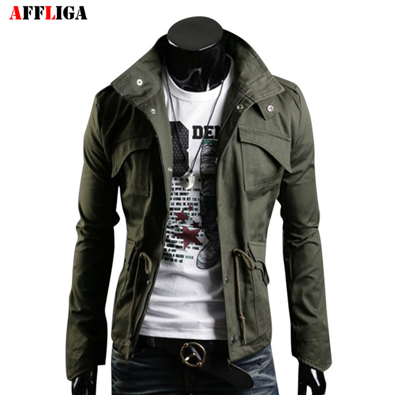 affliga multi pocket design spring men jacket stand collar