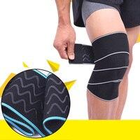 HOT New 2 Pcs Adjustable Sports Knee Wraps Compression Patella Knee Sleeve Thigh Leg Brace Elastic
