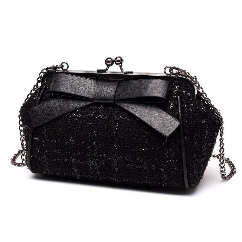 HANSOMFY| Lattice Chain Fashion Handbags Single Shoulder Bag Chic Mini Women Bag Bowknot chic bowknot ribbon embellished felt hat for women
