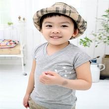 Fashion Summer Kids Boys Girls Short Sleeve Tops V Neck Cotton Gray T-shirt With Pocket