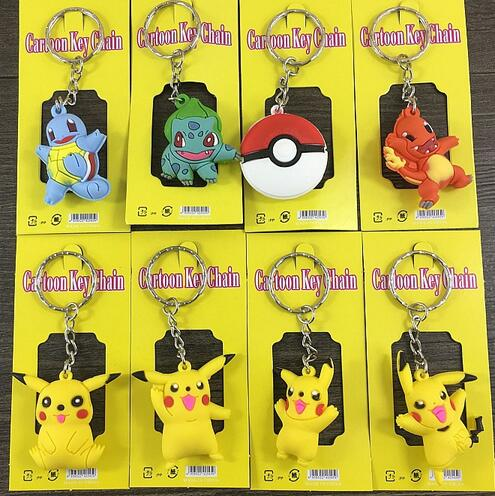 New  5sets (12pcs/set)  Mixed  3D  PVC Key Ring Cartoon  Keychains  Bag Pendant For Best Gift Free Shipping  T-12