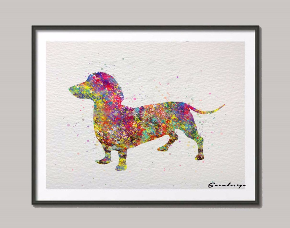 Dachshund dog original watercolor canvas painting wall art dog poster print pictures living room home decor wall hanging sticker in painting calligraphy